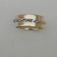 Sterling Silver  or Gold Ring with Twisted Wire Band