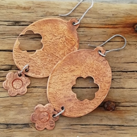 Large Copper Oval Flower Textured Earrings by Patsy at MidasTouch Jewels