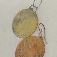 Large Copper Oval Textured Earrings by Patsy at MidasTouch Jewels