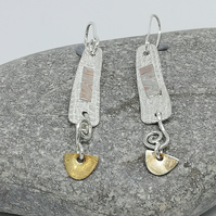 Sterling Silver and Gold Drop Earrings with Mokumo Game Applique