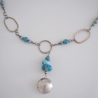 Necklace Turquoise Handmade Glass beads with silver loops and handmade beads