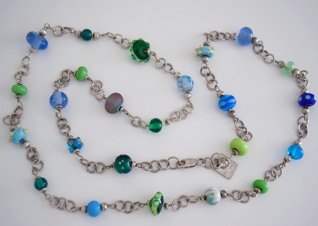 Lovely Sterling silver and glass Necklace Handmade in Shades of Blue and Green