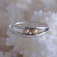 Ring Handmade silver set with 2 gold balls by MidasTouch Jewels in Wales