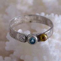 Ring Handmade Silver and Gold Stamped set with Turquoise Cubic Zircon