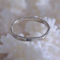 Octagonal Wedding Band in Silver or Gold made by MidasTouch Jewels