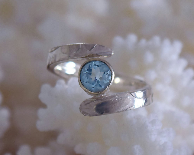 Aquamarine engagement cross over ring in silver or gold
