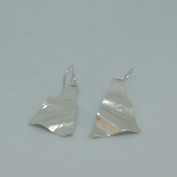 Sterling Silver Textured Triangle Earrings handmade by Patsy at MidasTouch Jewel