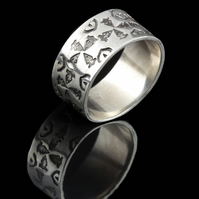 Stamped Wedding Ring in silver or gold by MidasTouch Jewels in Wales