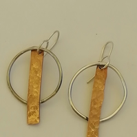 Sterling Silver Wire Hoop and Copper Rod Earrings