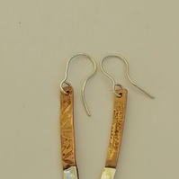 Sterling Silver Twisted Wire Hoop and Copper Rod Earrings