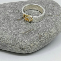 Silver and Gold Textured Diamond Engagement Ring Band