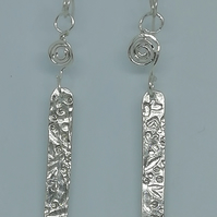 Stunning Silver Floral and Coil Earrings made by Patsy at Midas touch Jewels in