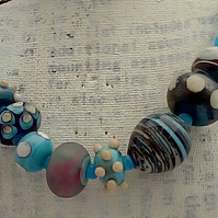 Blue, Ivory and Turquoise Handmade Glass Bead Necklace - Allergy free, at MidasT