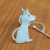 Cute Dog Collar Button in Sterling Silver and Gold made by MidasTouch Jewels in
