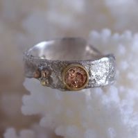 Reticulated White and Yellow Gold Diamond Engagment Ring by Patsy at MidasTouch