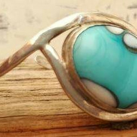 Turquoise handmade flame-work silver bangle by MidasTouch Jewels by Patsy in Wal