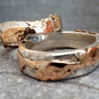 Leaf wrapped bark gold wedding ring made by Midas touch Jewels in Wales