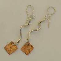 Silver Snake Earrings with Beaten Copper squares by MidasTouch Jewels in Wales