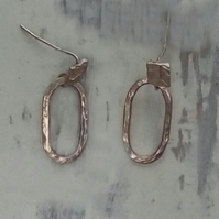 Oval drop silver stud Hoop earrings made by Patsy at MidasTouch Jewels