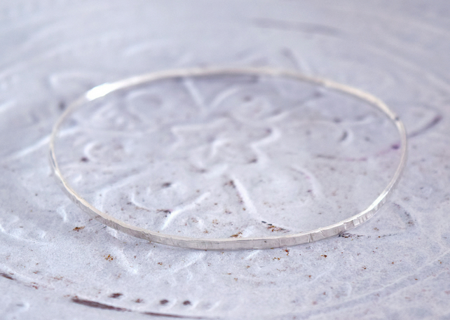 Sterling Silver Hammered narrow Bangle