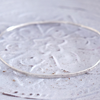 Sterling Silver Hammered narrow Bangle at MidasTouch Jewels by Patsy in Wales