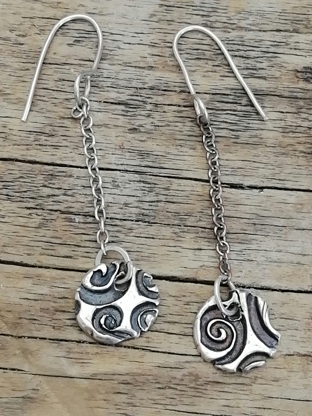 Spiral Sterling Silver Drop Earrings made by MidasTouch Jewels in Wales