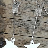 Star  Sterling Silver Drop Earrings made by MidasTouch Jewels in Wales