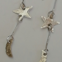 Star and Moon Sterling Silver Drop Earrings