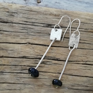 Hammered Sterling Silver Drop Earrings with Black Handmade Glass Bead made by Mi