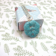 Beautiful Blue Flower Pendant