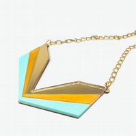 Wingspan Art Deco-style statement necklace. Three colour acrylic: gold mirror, y