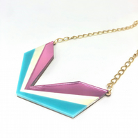 Wingspan Art Deco acrylic statement necklace. Pink mirror, ice and turquoise