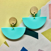 Dancer dangly stud earrings, gold plated studs in aqua green and walnut wood