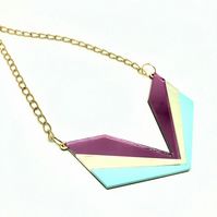 Wingspan Art Deco-style statement necklace. Three colour acrylic: pink mirror, i