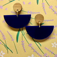 Dancer dangly stud earrings, gold plated studs in classic blue and walnut wood