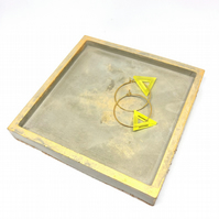 Square polished concrete jewellery dish ring tray, with cork base, gold sparkly