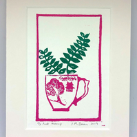 Original linocut print, 7x5 inches, succulent cactus in a teacup, in pink and gr