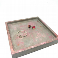 Square polished concrete jewellery dish ring tray, with cork base, pink metallic