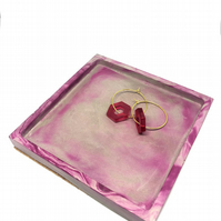 Square polished concrete jewellery dish ring tray, with cork base, dark pink dye