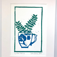 Original linocut print, 7x5 inches, succulent cactus in a teacup, in blue and gr