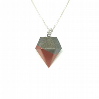 Modern simple handmade, copper colour, Concrete geometric pendant on silver chai