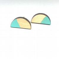 Birch ply wood semi-circle stud earrings with sterling silver, in aqua blue