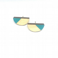 Birch ply wood semi-circle stud earrings with sterling silver, in turquoise blue