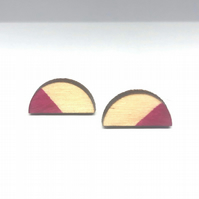 Birch ply wood semi-circle stud earrings with sterling silver, in hot pink fuchs