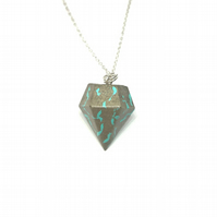 Modern simple handmade, aqua blue colour, Concrete geometric pendant on silver c