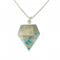 Modern simple handmade, turquoise colour, Concrete geometric pendant on silver c