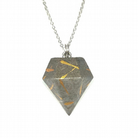 Modern simple handmade, gold patterned, Concrete geometric pendant on silver cha