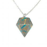 Modern simple handmade, gold and turquoise patterned, Concrete geometric pendant