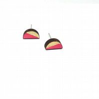 Small wood & silver handmade geometric stud earrings, small bright pink half cir
