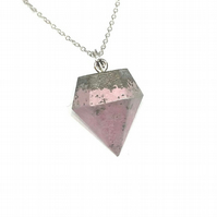 Modern simple handmade, pink, Concrete geometric pendant on silver chain